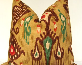 Pillow Cover, Throw Pillow, Toss Pillow, Decorative Pillow, Handmade Pillow, Brown Ikat, Ikat Pillow, Home Furnishing, Home Decor