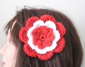 Red and White Rose Flower Hair Accessory Barrette Clip for Hats or Headbands