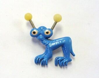Vintage Blue Alien Pin Brooch DEADSTOCK