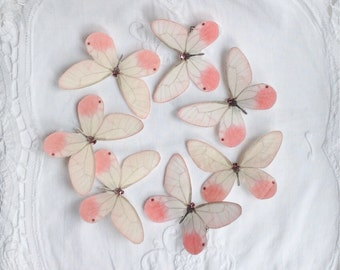 Hand Cut silk butterfly hair clip - Pink Blush