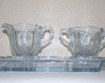 Fostoria BAROQUE Azure blue Individual Sugar, Creamer and Tray