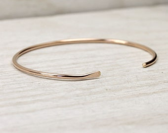 14K Rose Gold Fill Smooth Cuff Bracelet, Simple Rose Gold Cuff, Custom Sized Stacking Bracelets