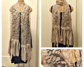 Taupe Lace Scarf Long Tattered Womens Vine Design Fiber Art To Wear