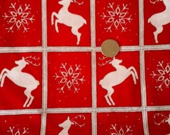 Sale Holiday Red and White Reindeer Snowflake Blocks 1 yard x 43/44""