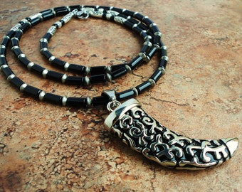 Long Necklace 32 inches, Mens Necklace, Black Onyx, Stainless Steel Horn Pendant, Gift for Guys, Him, Rocker, Biker,