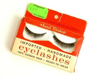 Vintage 1960s Hazel Bishop Imported Handmade Human Hair Eyelashes NOS / Set Prop Vanity Decor Vintage Cosmetics Collectible