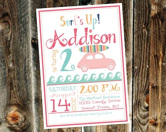 Vintage Surfer Girl Birthday Party Invitation - Print your own