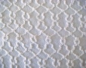 Martex White Squiggle Vintage Cotton Chenille Bedspread Fabric 18 x 24 Inches