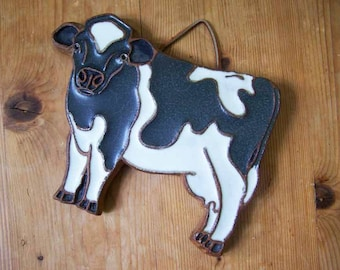 Cow Tile, Cow Trivet, Cow Wall Hanging, Victoria Littlejohn, Stoneware Cow, Pottery Dairy Cow, Kitchen Decor, Vintage