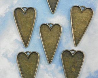 BuLK SALE 12 Bronze Heart Bezel Trays Pendants Long 54mm for bead mosaics, resin, polymer clay (P1511 -12)