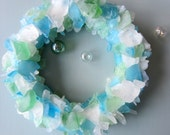 Beach Decor Sea Glass Wreath - Nautical Decor Beach Glass Wreath for Wall or Centerpiece- PASTEL MIX