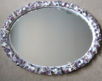 Seashell Mirror, Beach Decor Sea Glass Mirror, Nautical Decor Beach Glass Mirror, Shell Mirror, Nautical Mirror, Seaglass Mirror #CMOVSG