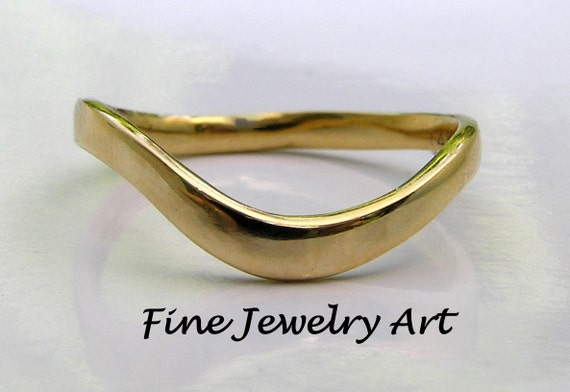 14k Solid Gold Thin Curved Wave Ring Band Plain Gold Ring