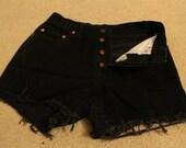High waist Denim cutoff shorts - black