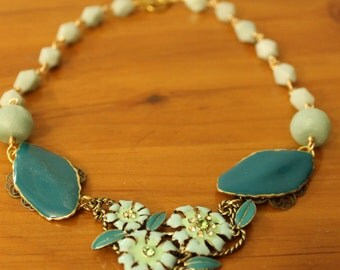 Emerald and Mint Green vintage jeweled bib necklace