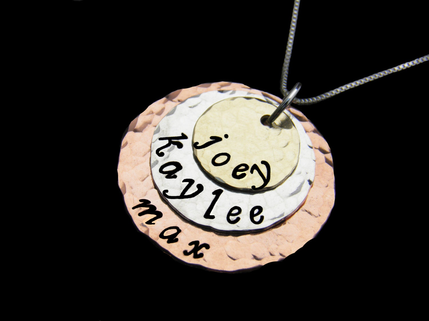 Personalized necklace hand stamped jewelry tri color triple for How to make hand stamped jewelry