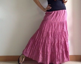 Candy Pink Cotton Maxi Skirt