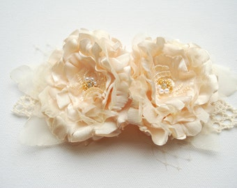 champagne cream bridal flowers, vintage wedding, wedding hair accessories, bridesmaids headpiece, bridal cream hair clip, sash, corsage