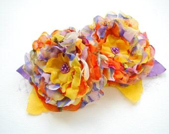 lilac orange yellow, weddings hair accessory, bridal hair flowers, bridesmaids headpiece, flower girl, bridal shoe clips, autumn, fall