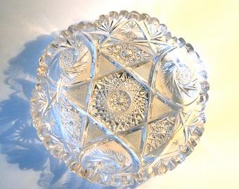 Vintage Cut Lead Crystal Dish Antique Amp Heavy