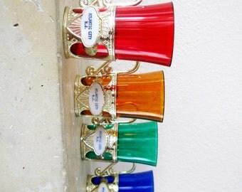 Vintage Souvenir Shot Glasses Atlantic City Plastic Red Gold Green Blue Set of Four 1970s