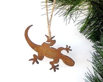 Lizard Metal Ornament / Rusty Metal Ornament / Southwest /Lizards /Christmas Ornament / Garden Art/Rustic Ornament / Southwest Gift