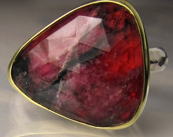Rose Cut Eudialyte, Rock Crystal Quartz Doublet Cocktail Ring, 18k Yellow Gold and Sterling Silver, Made to Order