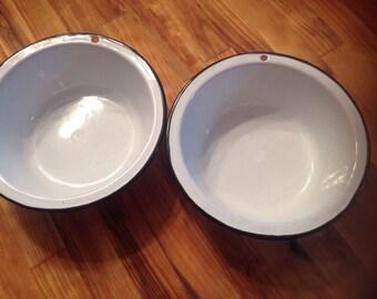 Vintage enamel bowls Black trim