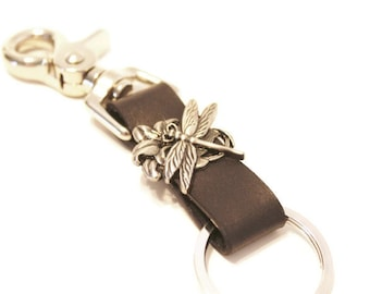 Black Leather Keychain Keyring Keyclip Silver Dragonfly with Belt Clip