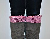 Boot Cuffs, Women's Boot Toppers, Pink Crocheted Cuffs, Handmade Boot Socks, Womens Accessories Legwear, Legwarmers, Valentines Day Gift