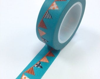 Washi Tape - 15mm - Orange Black Bunting on Teal - Deco Paper Tape No. 898