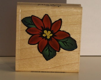Sweet Poinsettia FLOWER Rubber Stamp