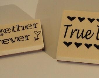 Valentine Together Forever True Love 2 Rubber Stamps Set