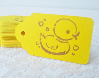 Rubber Duck Yellow Tags Baby Shower Gender Reveal Party Its a Boy or Girl Set of 50