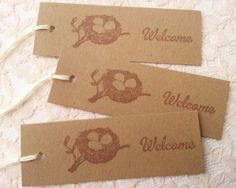 Bird Nest Welcome Tags Kraft Rustic Wedding and Baby Shower Set of 20