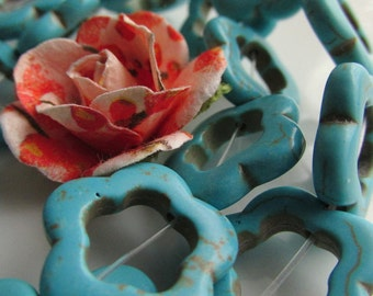 Turquoise Blue Stabilized Magnesite 18-20mm open flower with 10mm hole 4 pcs