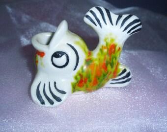 Vintage 1970 Ceramic Fish Toothpick Holder Kitsch