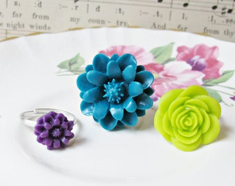 Girl's Ring Set Children Flower Teal Blue Green Purple Citrus Lime. Girls Party Favour Botanical. Floral Bonbonniere Eggplant Amethyst