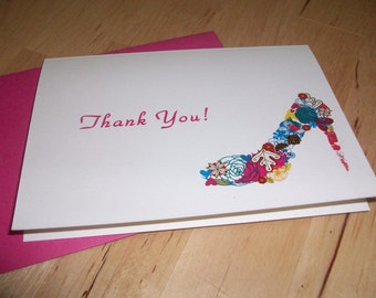 Fashionable Floral High Heel Thank You/Personalized Folded Cards-Set of 10