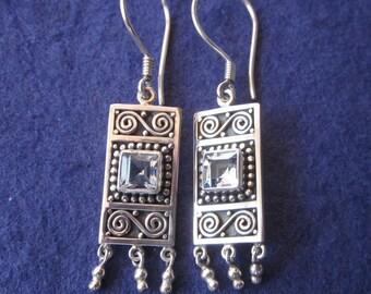 Balinese Sterling Silver Topaz dangle Earrings / 1.65 inch long / Silver 925 / Bali handmade jewelry.