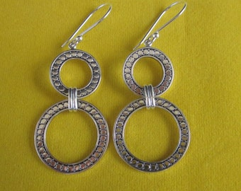 Bali Sterling Silver double rings dangle Earrings / 2.35 inches long / silver 925 / Balinese handmade jewelry.