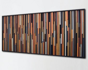 Rustic Metallic Modern Wood Wall Art, Metal Art, Home Decor,