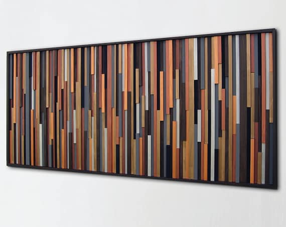 Modern Rustic Wall Decor: Wood Wall Art Sculpture Wall Art On Wood Painted Wood Art