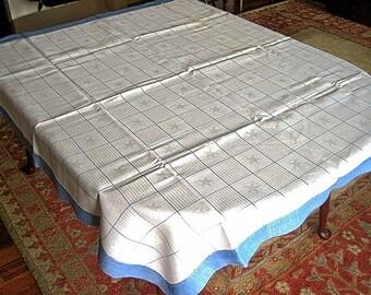 RETRO Vintage TABLECLOTH Blue Trim LINEN Damask Block Stars & Stripes Excellent