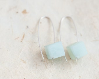 Modern Hook Earrings Mint Amazonite Cube Argentium Sterling silver Geometric Jewelry pastel minimalist