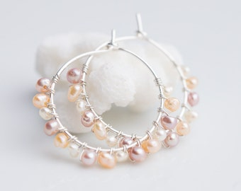 Hoop Earrings Pastel Pearls Argentium Sterling Silver peach pink wire wrapped june birthstone bridal fashion