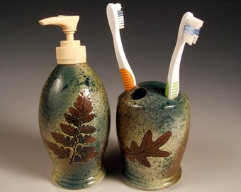 4 hole toothbrush holder and soap dispenser set