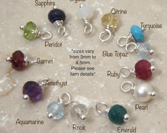 Tiny Birthstone charm - ONE genuine birthstone dangle - The white opal is a crystal - Photo NOT actual size > Read details