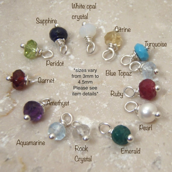 Tiny Birthstone charm - ONE genuine birthstone dangle - Tiny real birthstones - white opal is crystal - Photo NOT actual size > Read details