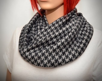 Houndstooth scarf - Black & Gray  infinity scarf